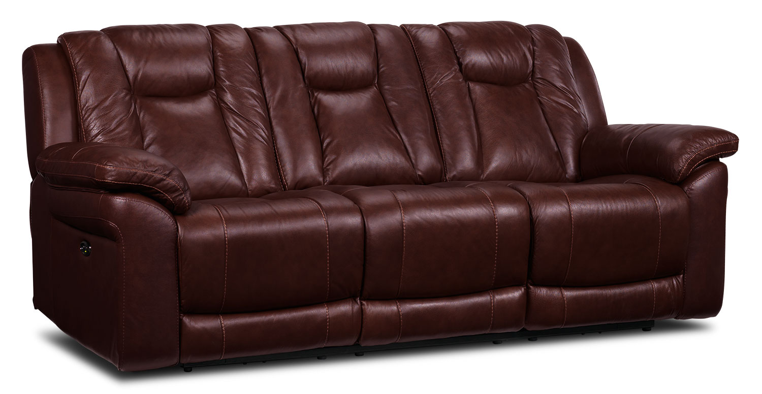 [Plato Power Reclining Sofa - Burgundy]