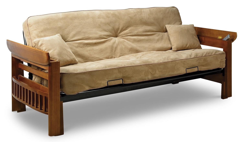 Orlando futon hazelnut leon39s for Living room furniture orlando