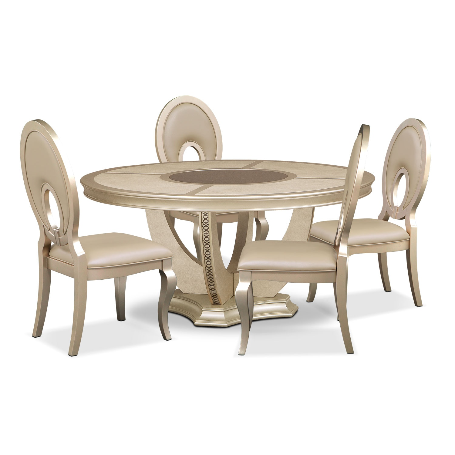 Round Dinette Tables: Allegro Round Table And 4 Chairs - Platinum