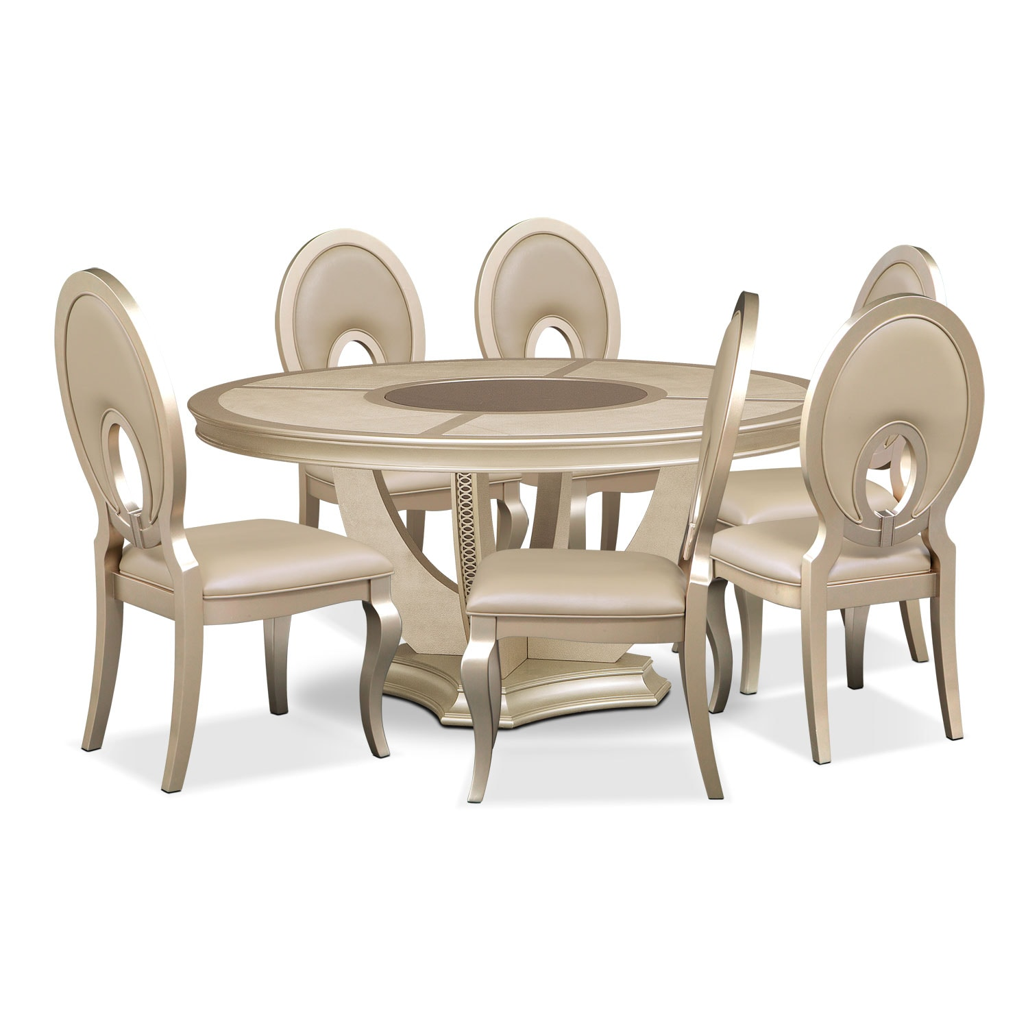 Round Table And Chairs For 6: Allegro Round Table And 6 Chairs - Platinum