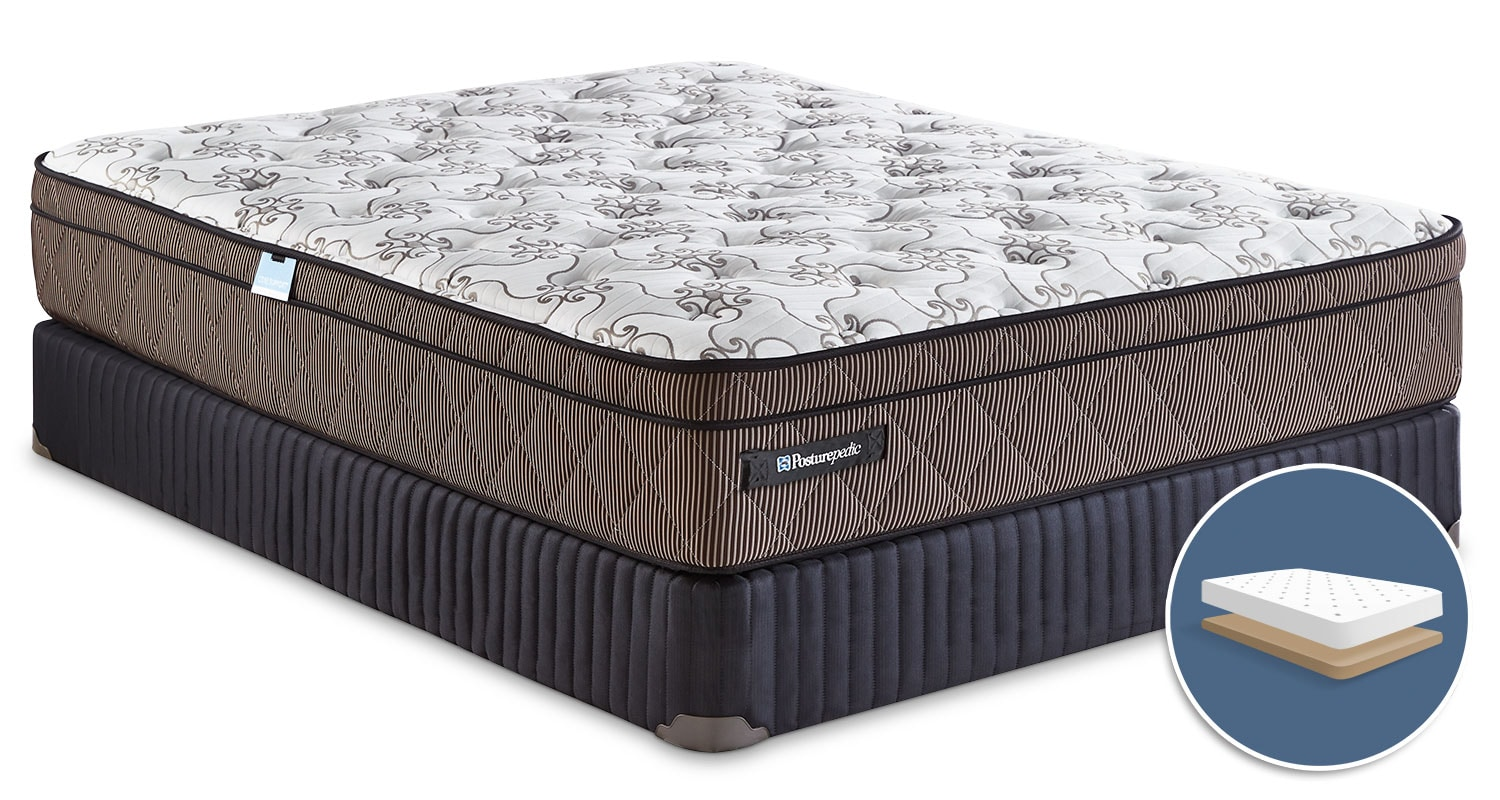 Mattresses and Bedding - Sealy Posturepedic Crown Jewel Raybeck Euro-Top Low-Profile Queen Mattress Set
