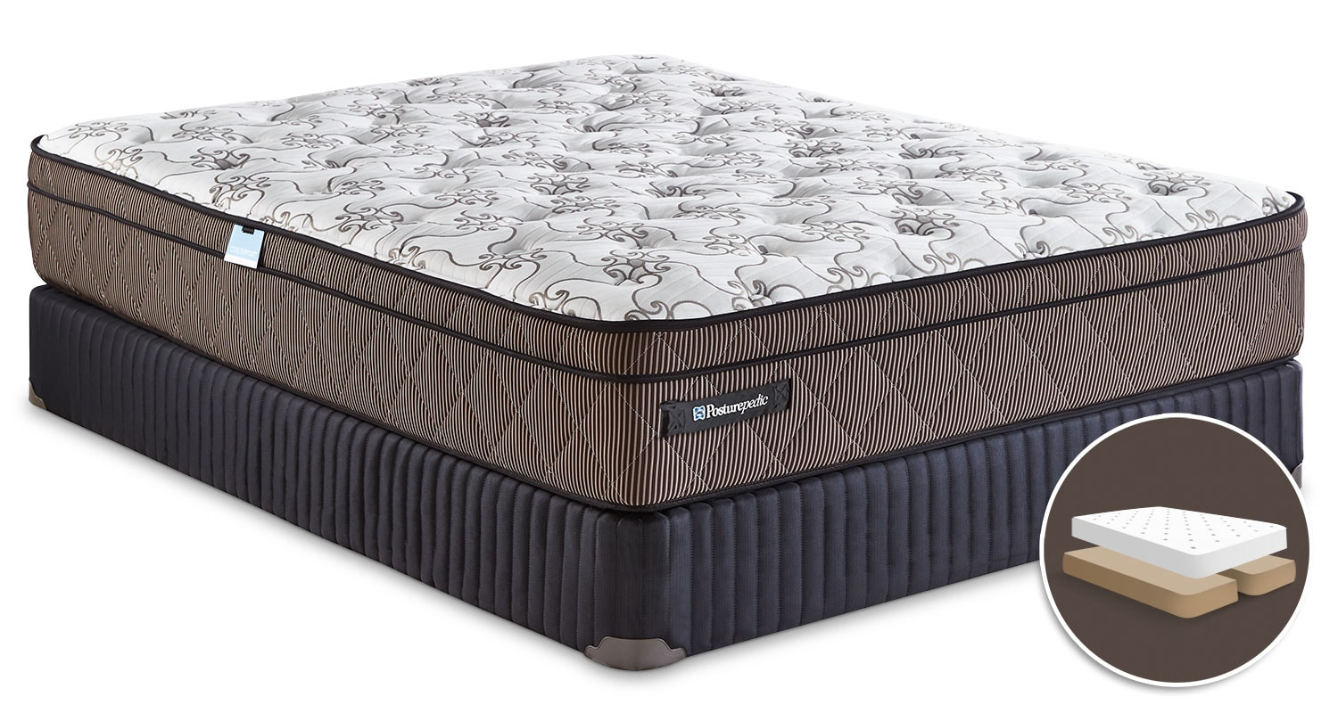 Mattresses and Bedding - Sealy Posturepedic Crown Jewel Raybeck Euro-Top Queen Mattress and Split Boxspring Set