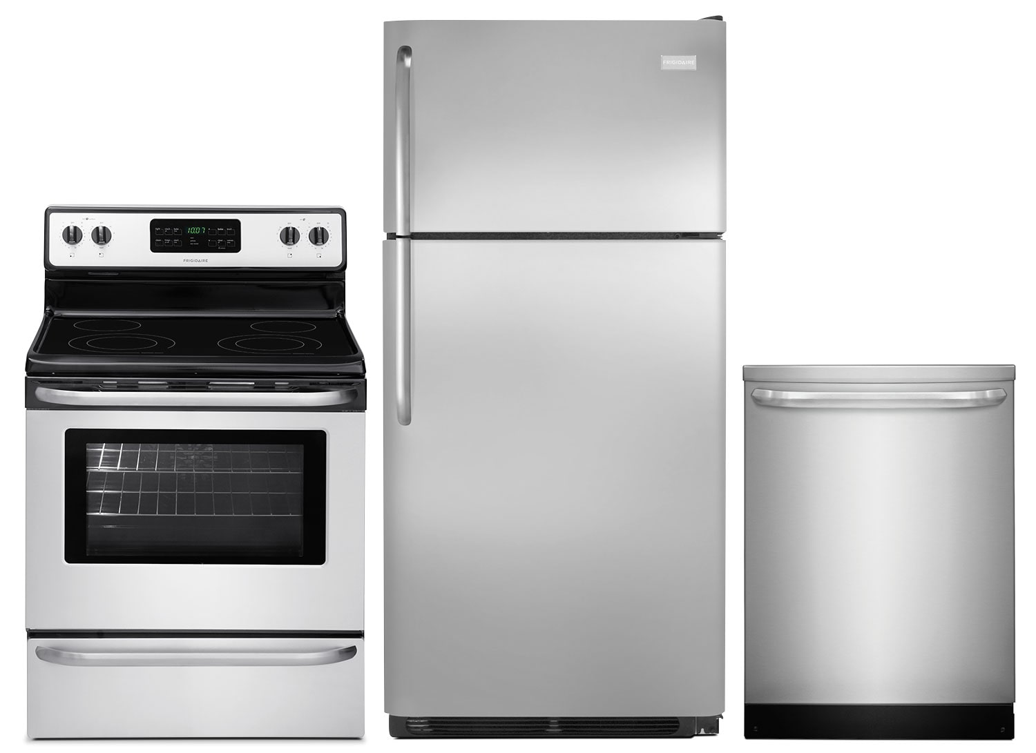 Frigidaire 18 Cu. Ft. Refrigerator, 5.4 Cu. Ft. Electric Range and Built-In Dishwasher