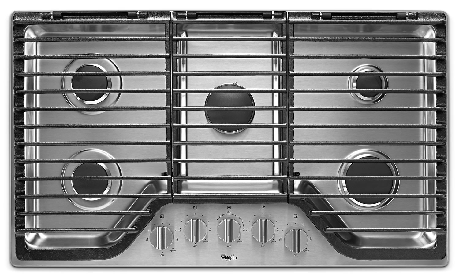 whirlpool stainless steel 36 gas cooktop wcg97us6ds leon 39 s. Black Bedroom Furniture Sets. Home Design Ideas