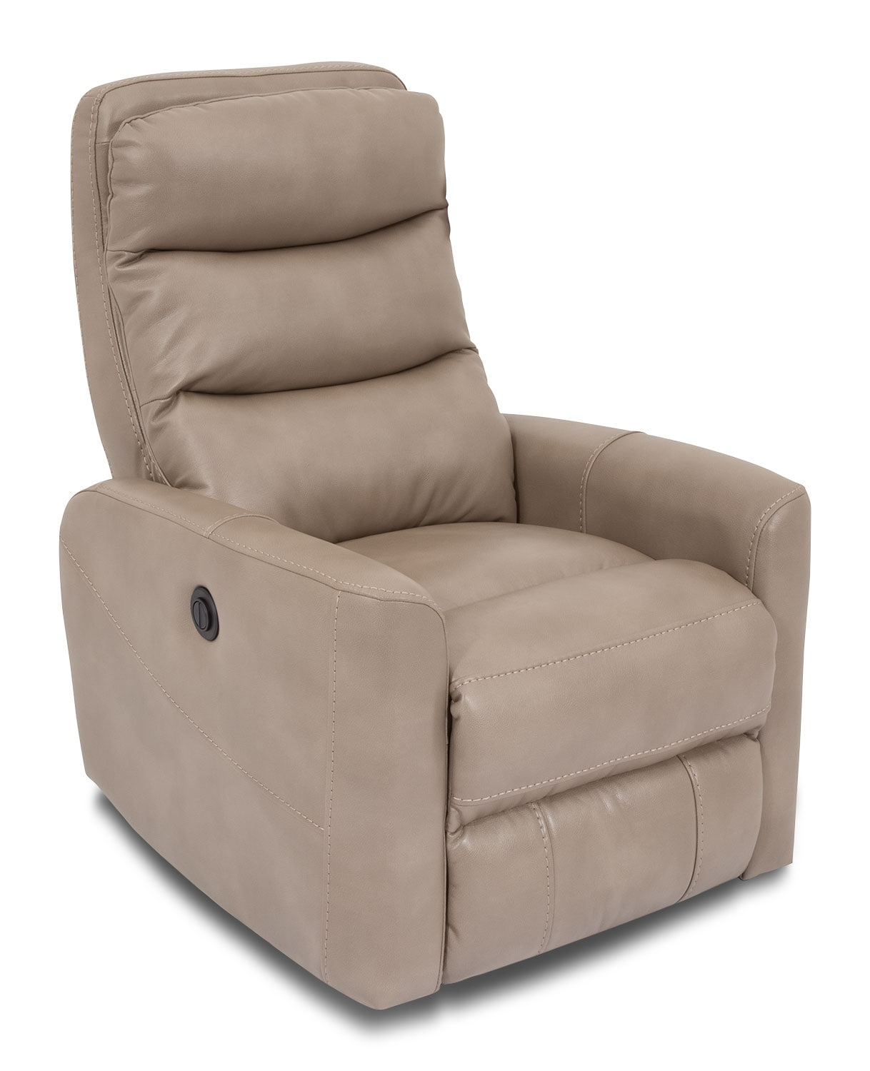 Quinn leather look fabric power recliner taupe the brick - Fabric reclining living room sets ...