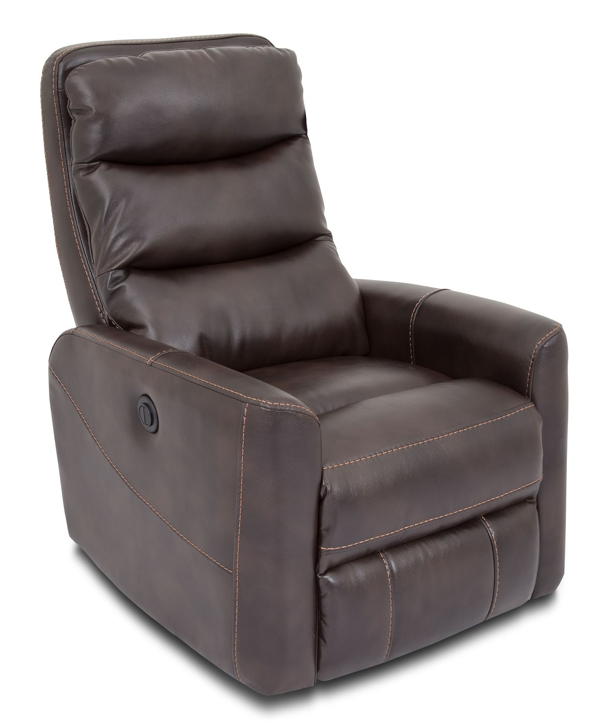 Quinn Leather-Look Fabric Power Recliner – Brown