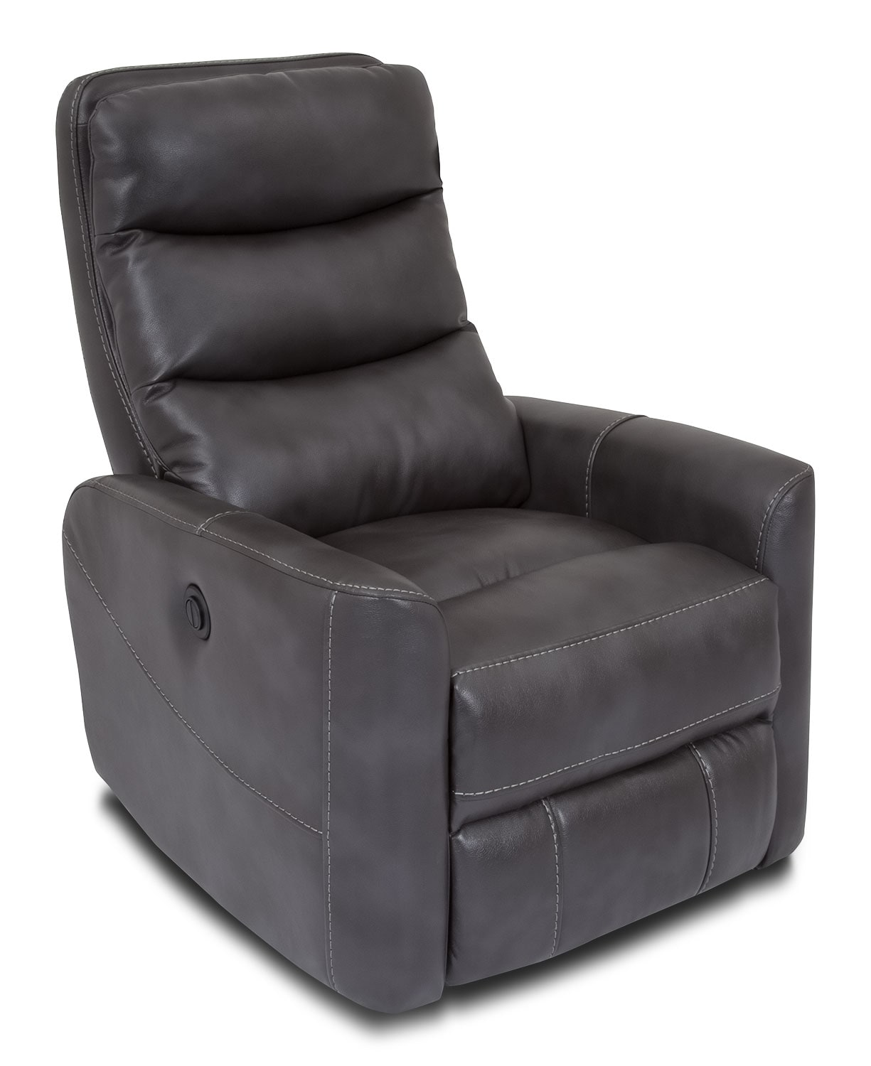 Living Room Furniture - Quinn Leather-Look Fabric Power Recliner – Grey