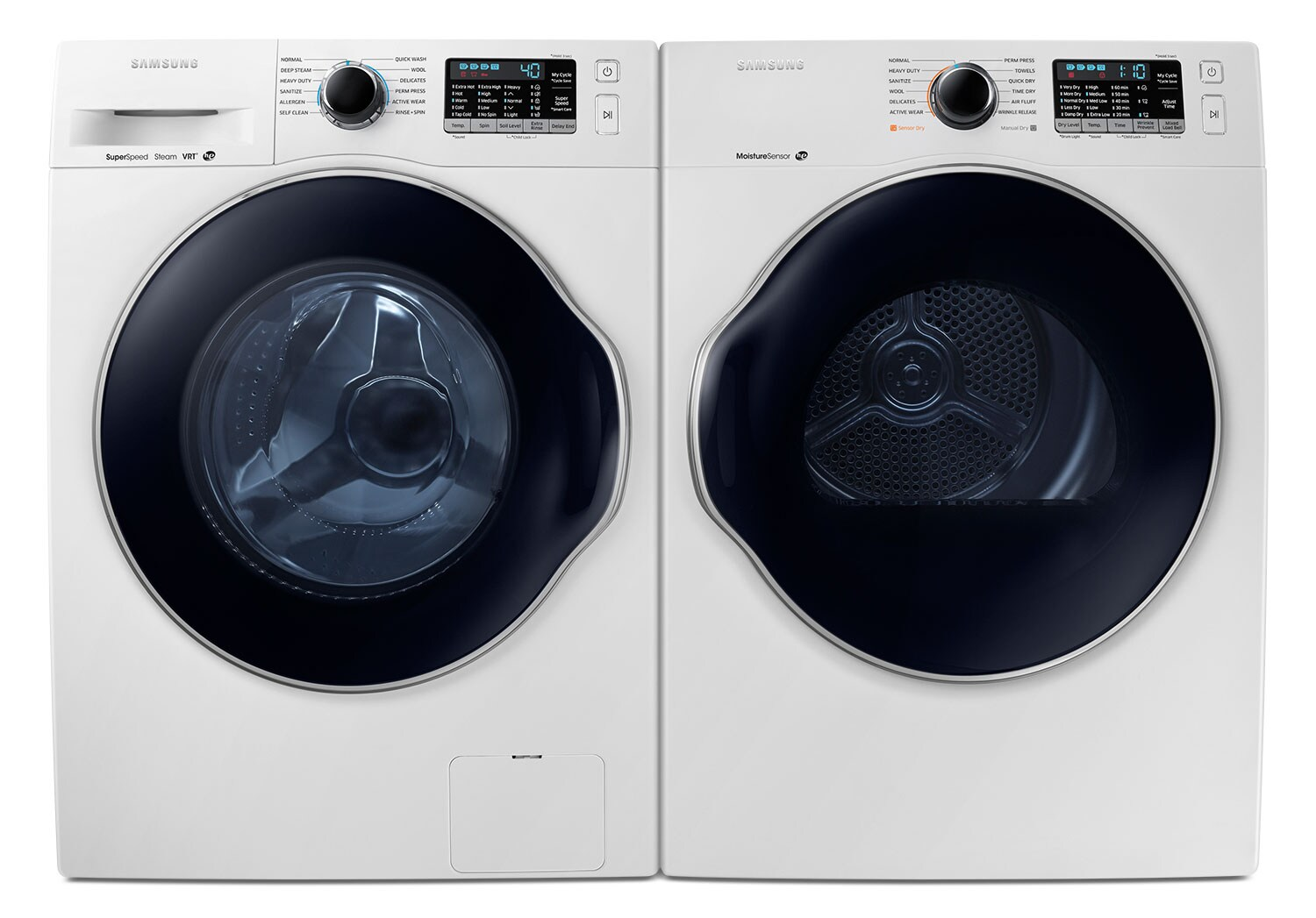 Samsung Compact 2.6 Cu. Ft. Front-Load Washer and 4.0 Cu. Ft. Electric Dryer – White