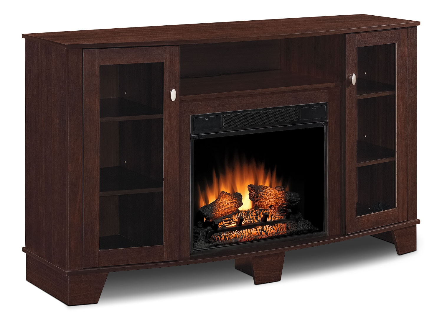 "Entertainment Furniture - Della 59"" TV Stand with Log Firebox"