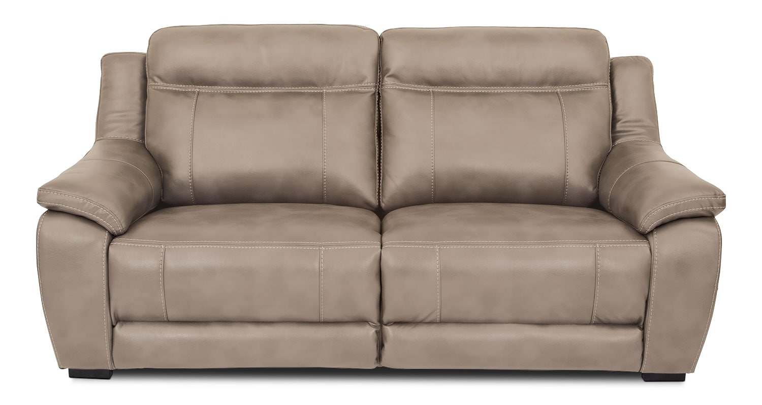 novo leather like fabric power reclining sofa taupe the brick. Black Bedroom Furniture Sets. Home Design Ideas