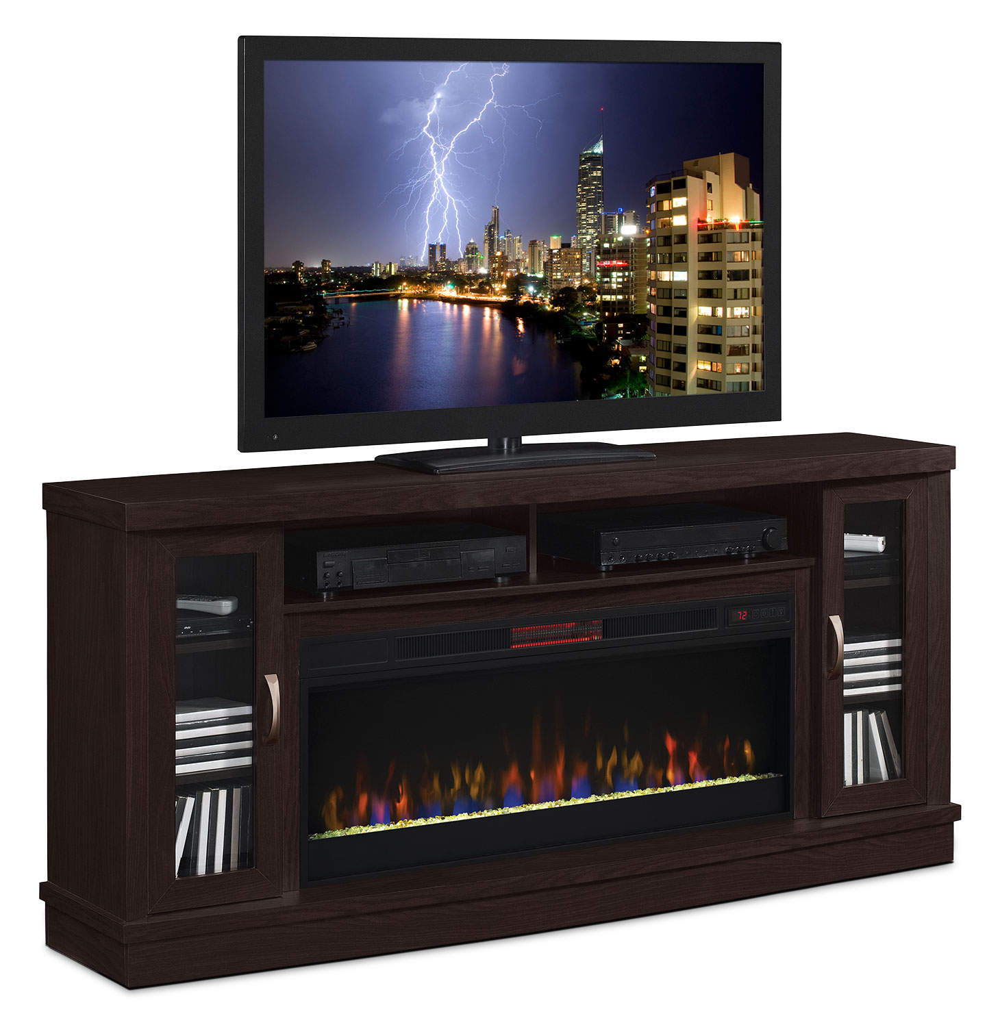 "Sarah Check Hearth Cabinet: Hutchinson 70"" Stand With Glass Ember, Log Or Rock Firebox"