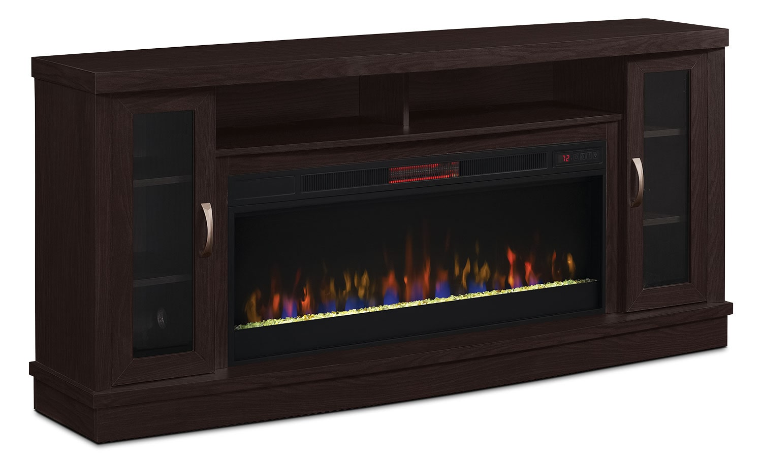 "Hutchinson 70"" Stand with Glass Ember, Log or Rock Firebox"