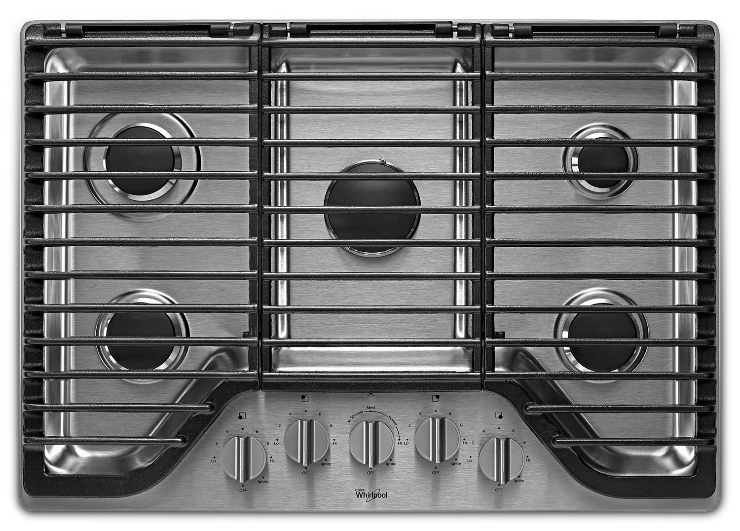 Cooking Products - Whirlpool® 30-inch 5 Burner Gas Cooktop with EZ-2-Lift™ Hinged Cast-Iron Grates