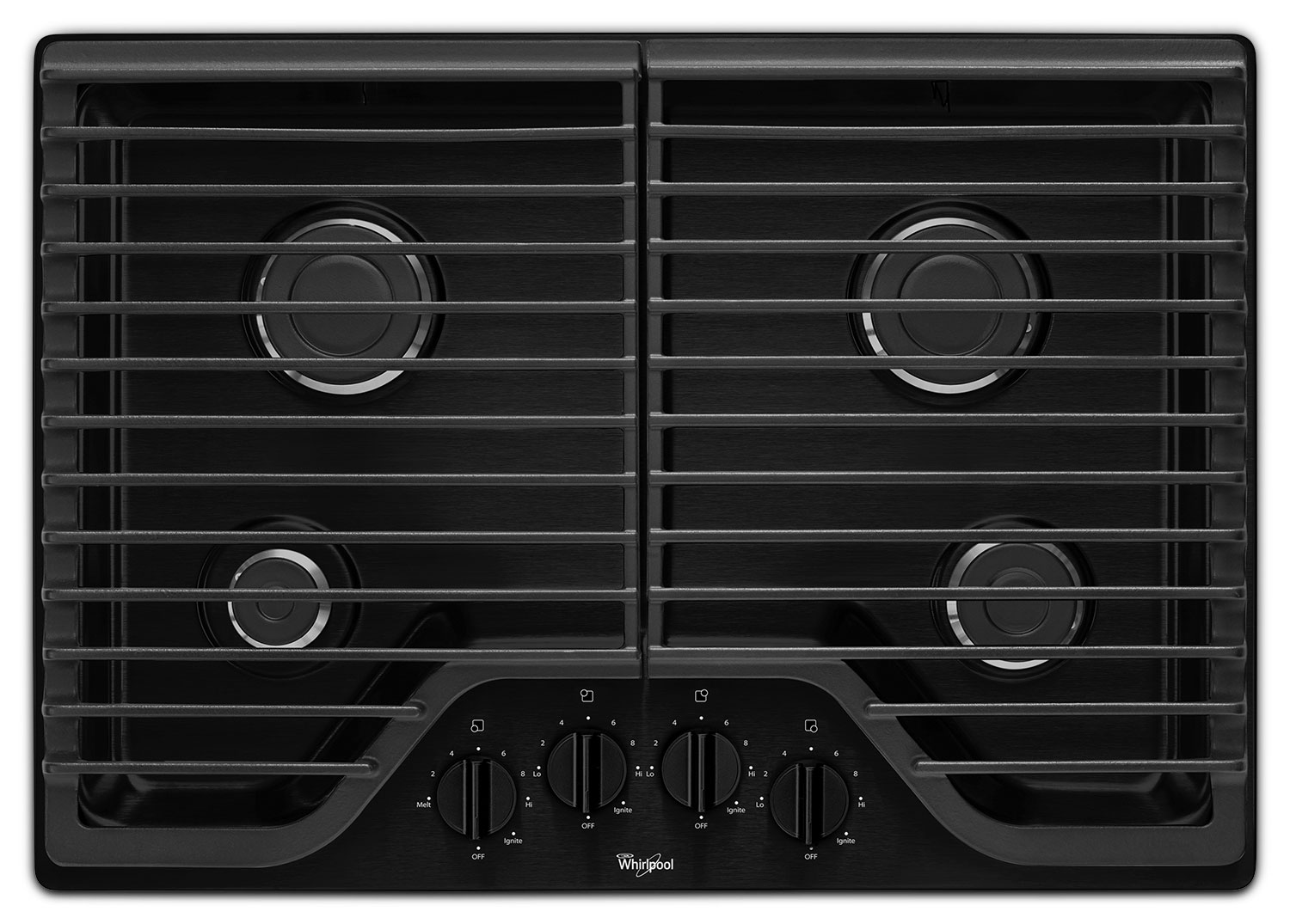 "Cooking Products - Whirlpool Black 30"" Gas Cooktop - WCG51US0DB"