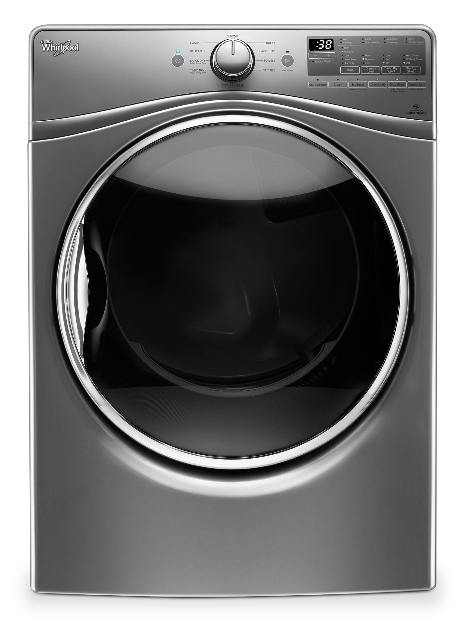 Washers and Dryers - Whirpool Chrome Shadow Electric Dryer (8.5 Cu. Ft.) - YWED92HEFC