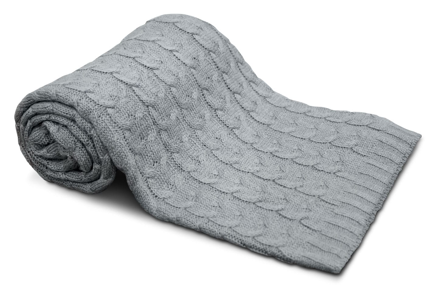 Mattresses and Bedding - Cable Knit Throw – Grey