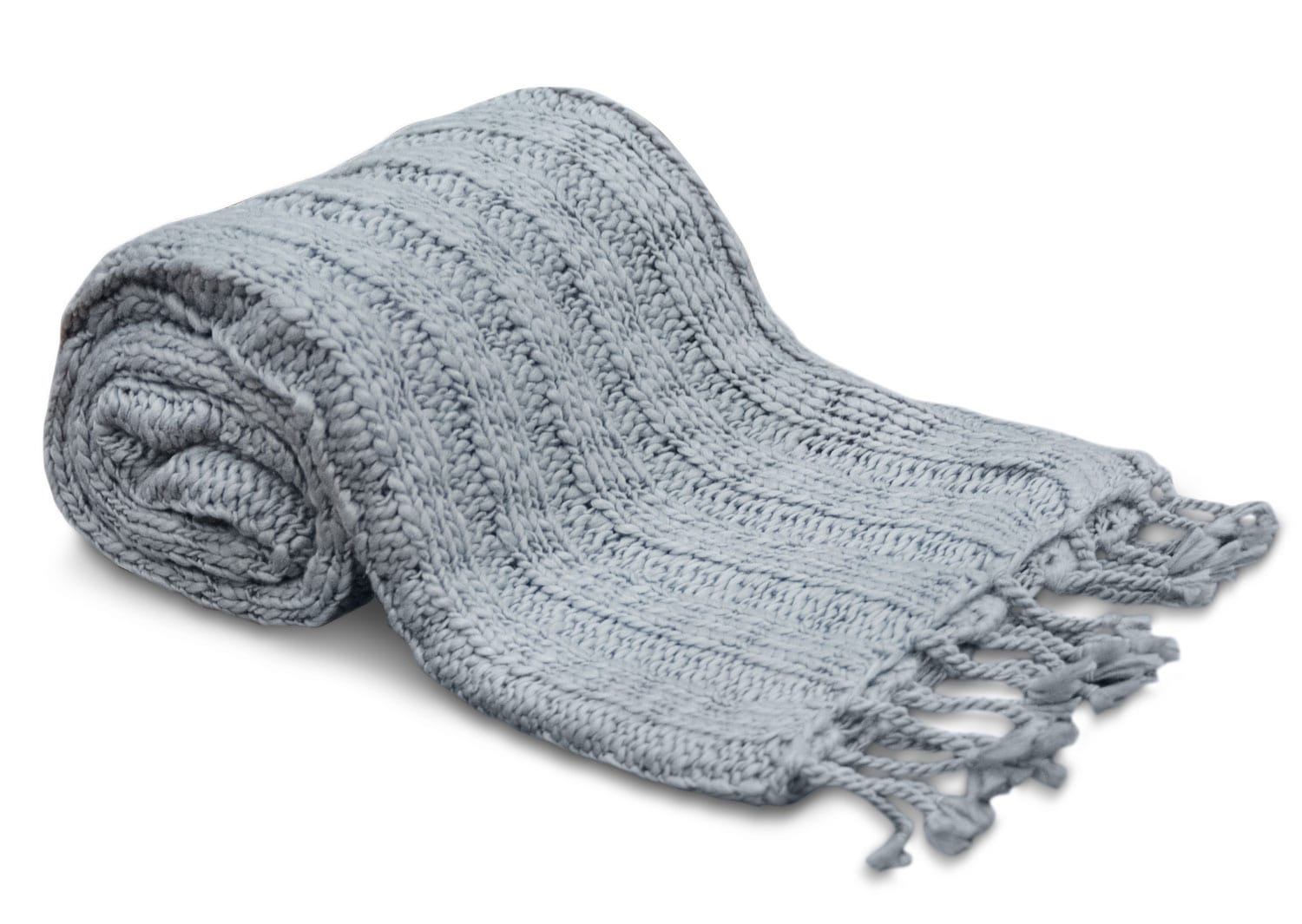 Knit Throw with Tassels – Grey