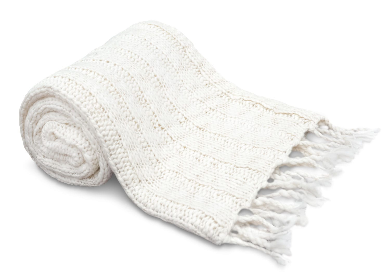 Knit Throw with Tassels – White