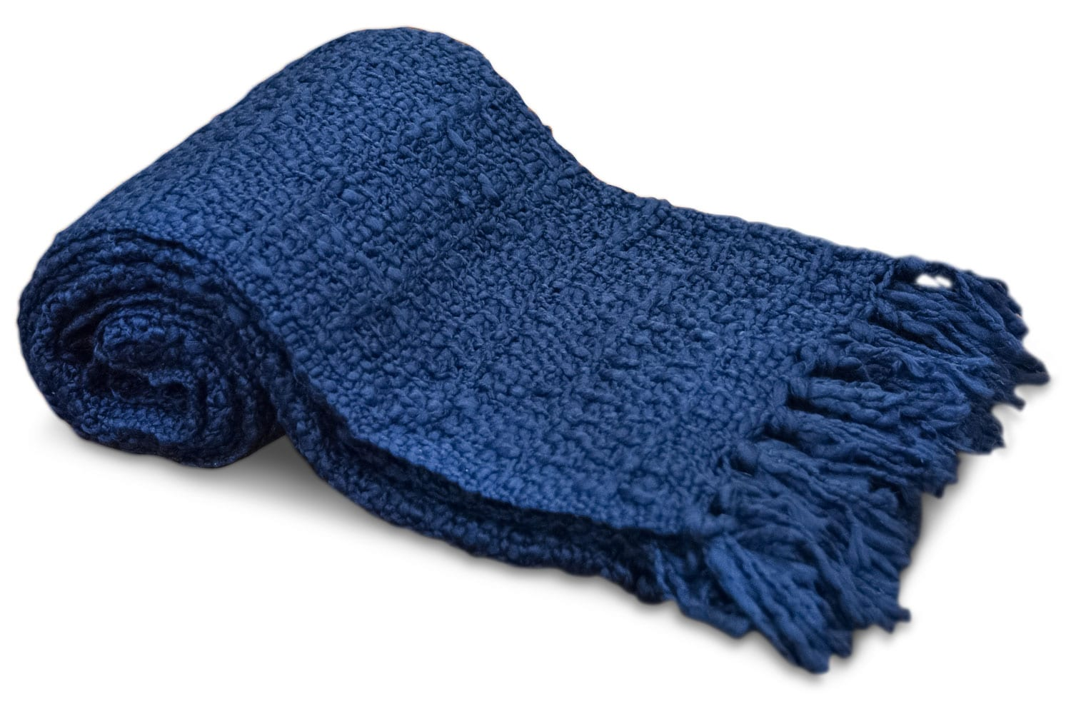 Knit Throw with Fringe – Navy