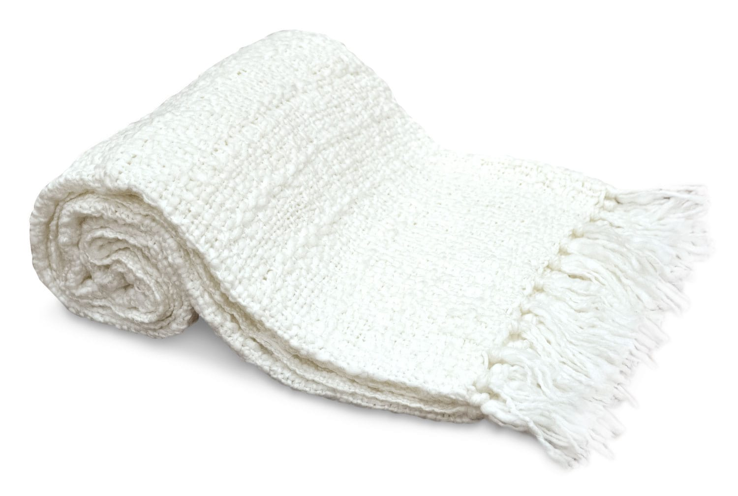 Knit Throw with Fringe – White