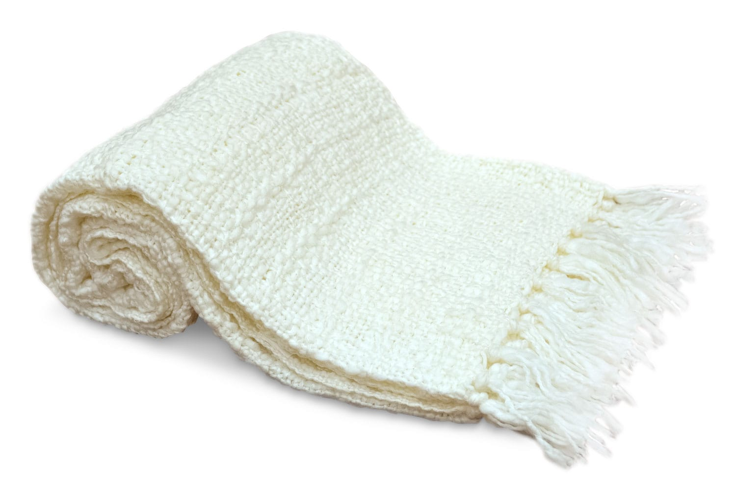 Knit Throw with Fringe – Ivory