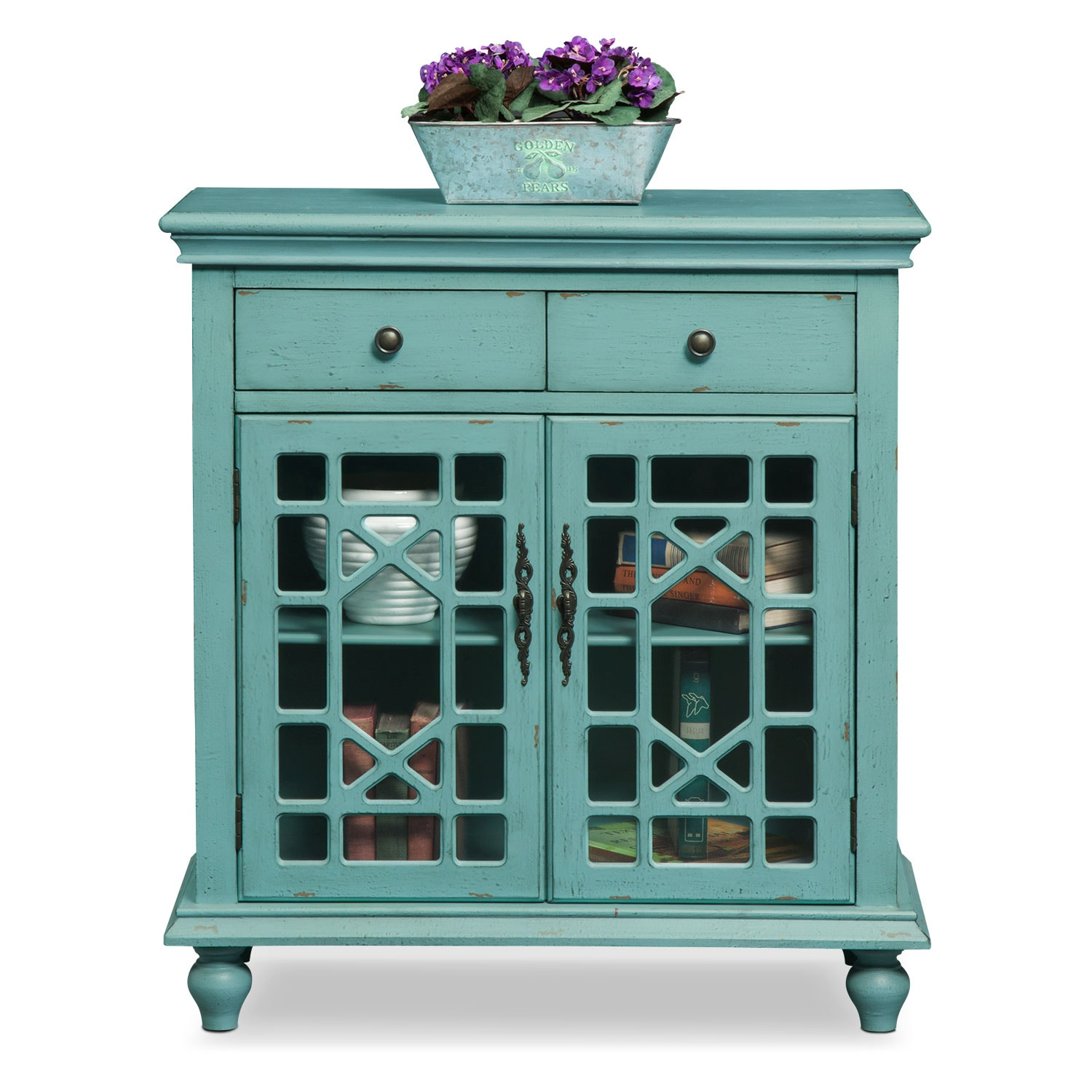 Grenoble Accent Cabinet Teal American Signature Furniture