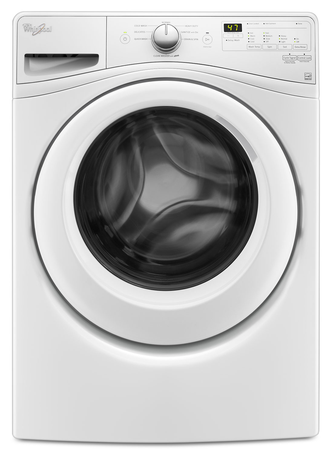 Washers and Dryers - Whirlpool White Front-Load Washer (4.8 Cu. Ft. IEC) - WFW7590FW