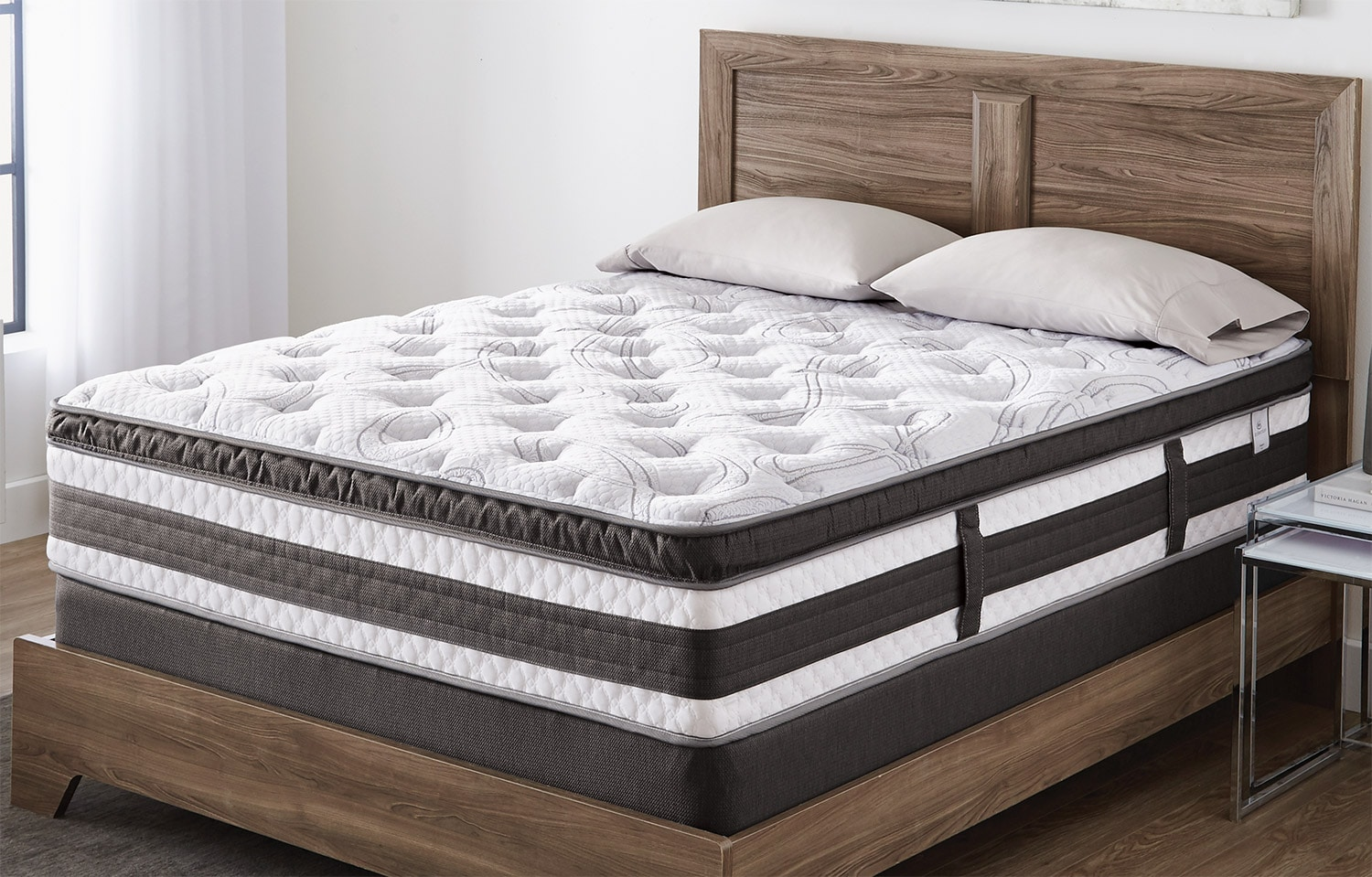 Mattresses and Bedding - Serta iCollection™ Kingsport Euro-Top Luxury Firm Low-Profile Split Queen Mattress Set