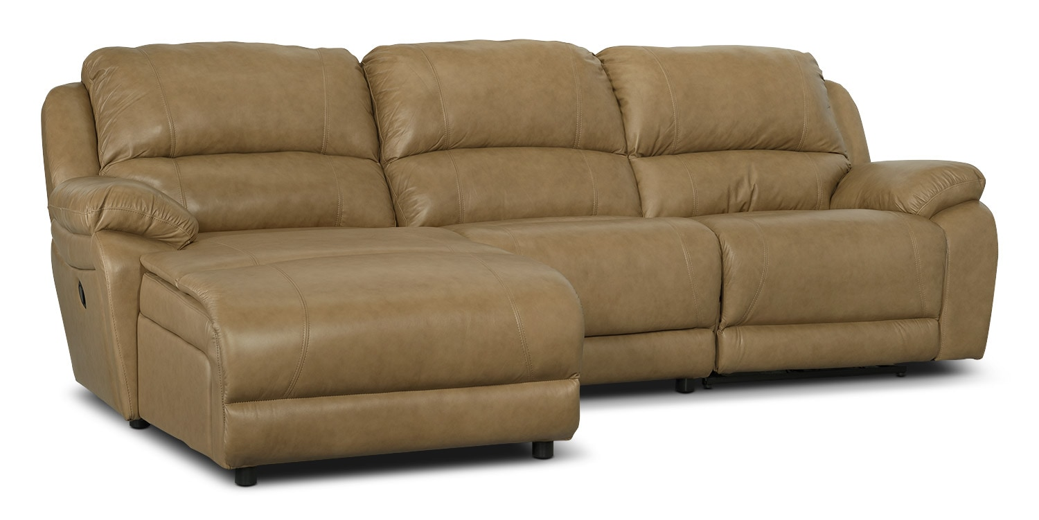 Marco genuine leather 3 piece sectional with left facing for Genuine leather sectional sofa with chaise