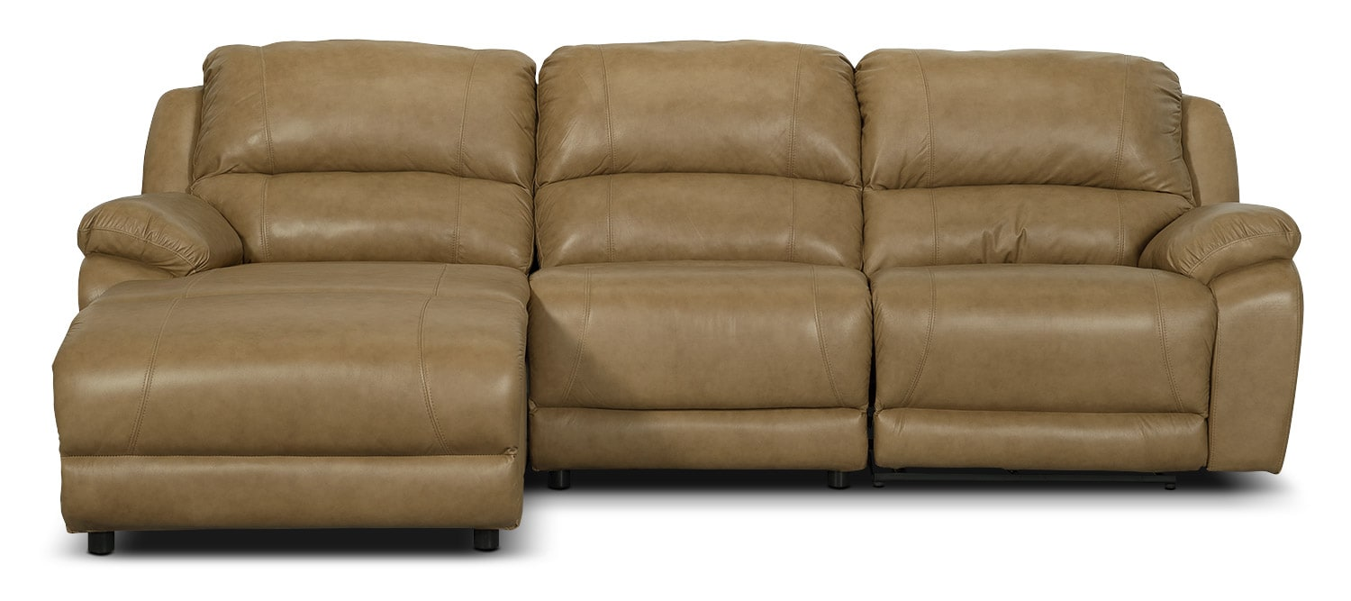 Marco Genuine Leather 3-Piece Sectional with Left-Facing Inclining Chaise– Toffee
