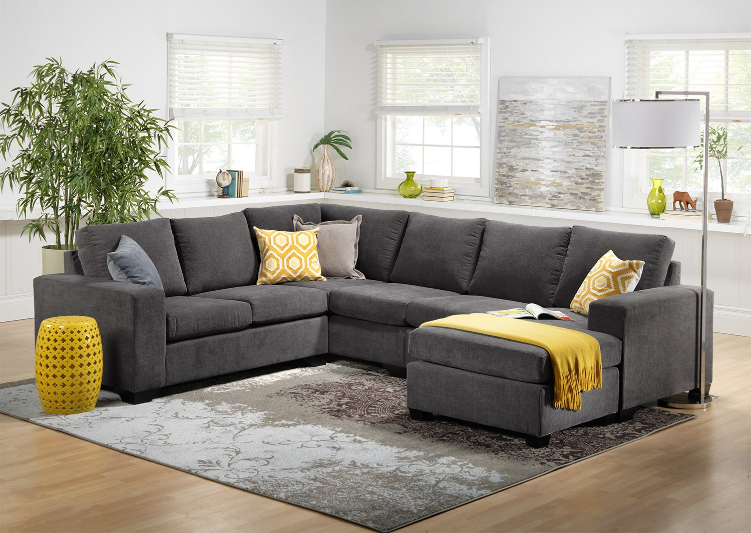 danielle 3 piece sectional with right facing corner wedge grey leon 39 s. Black Bedroom Furniture Sets. Home Design Ideas