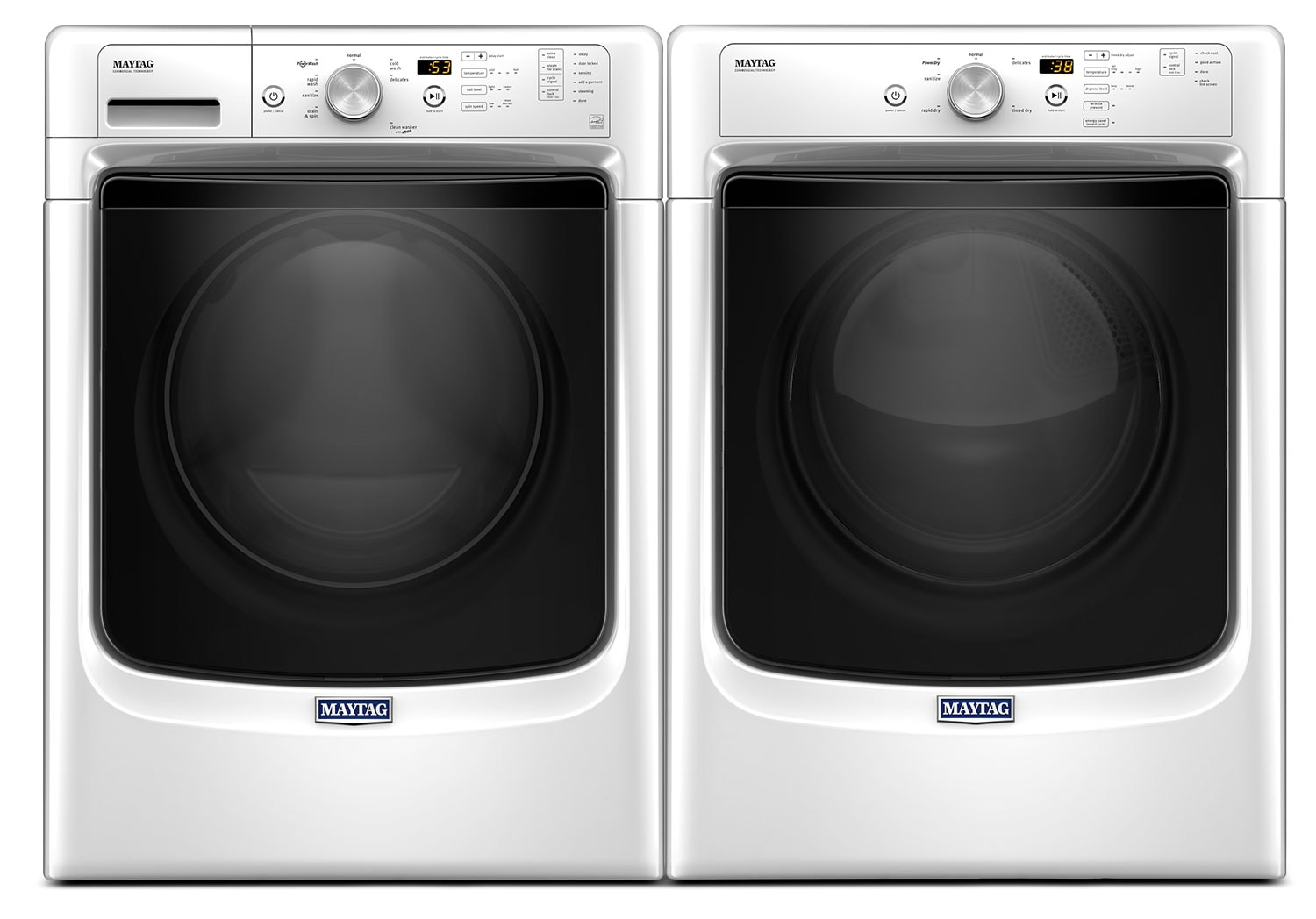 Washers and Dryers - Maytag 5.2 Cu. Ft. Front-Load Washer and 7.4 Cu. Ft. Electric Dryer – White