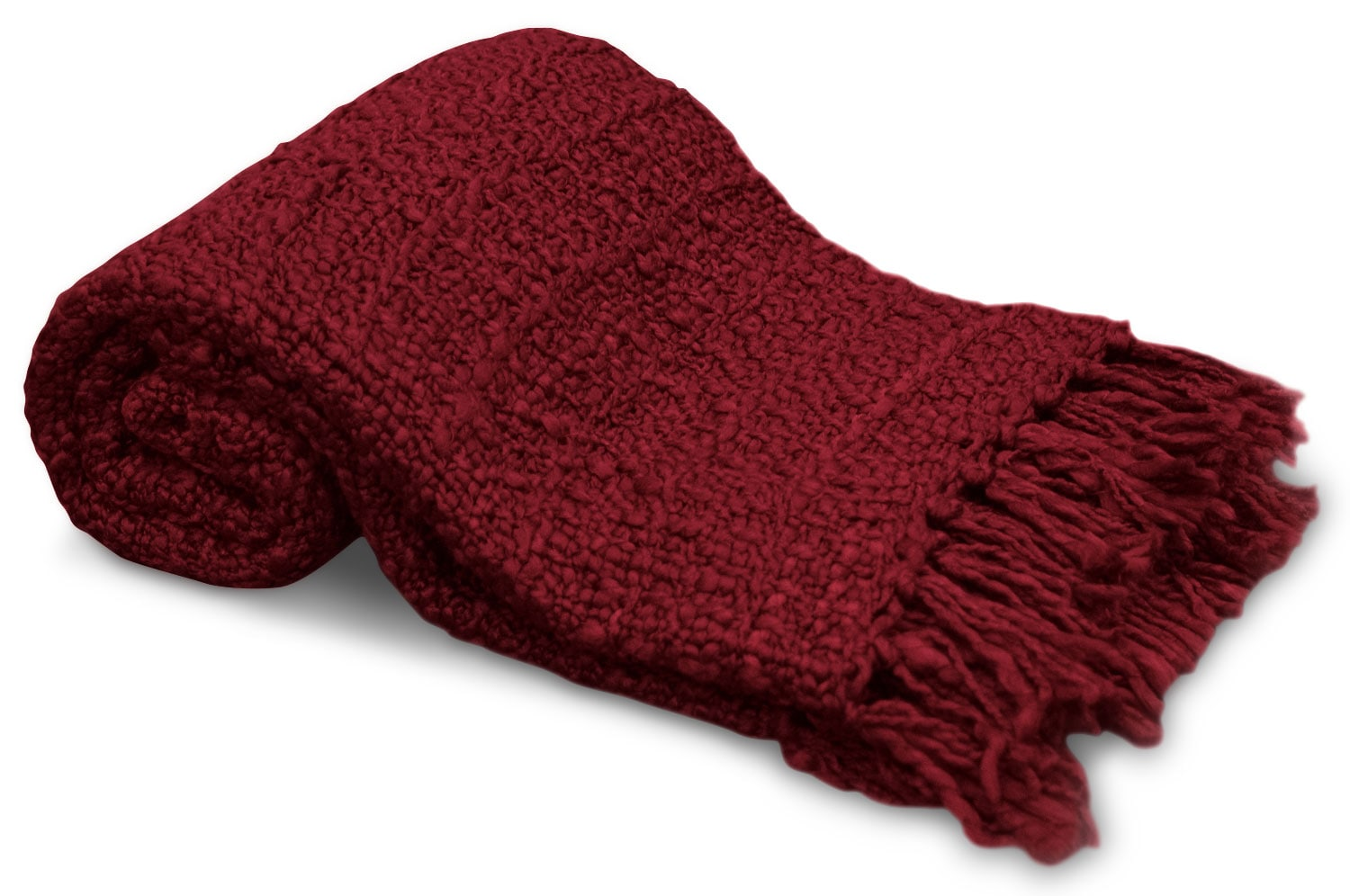 Knit Throw with Fringe – Red