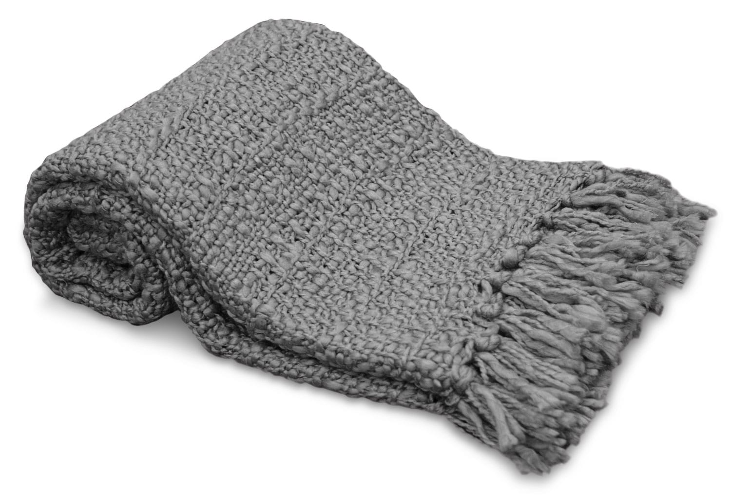Knit Throw with Fringe – Grey