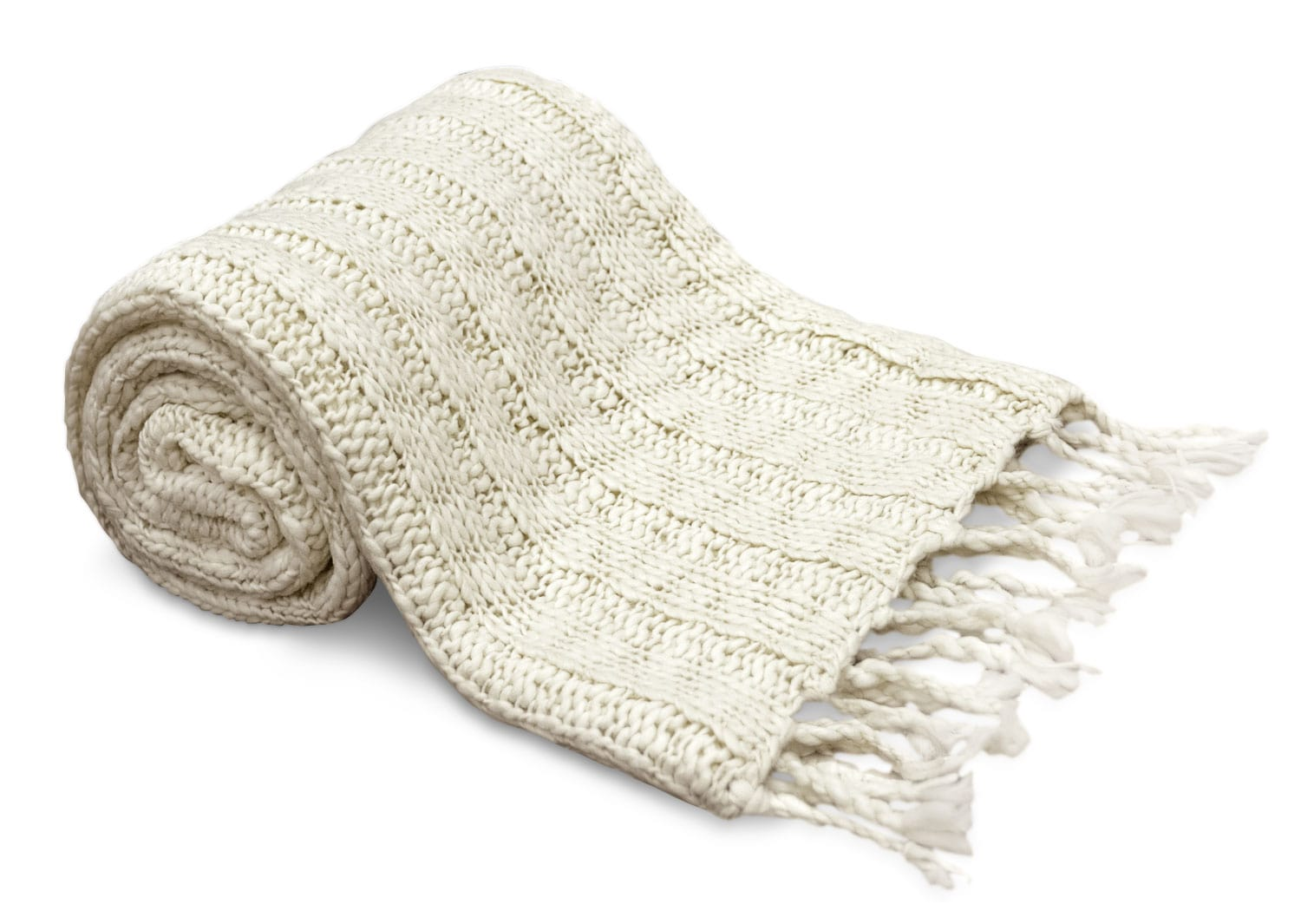 Knit Throw with Tassels – Ivory