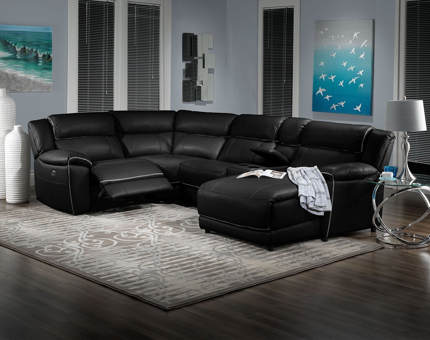 Holton 5 piece sectional black leon 39 s for 5 piece living room packages