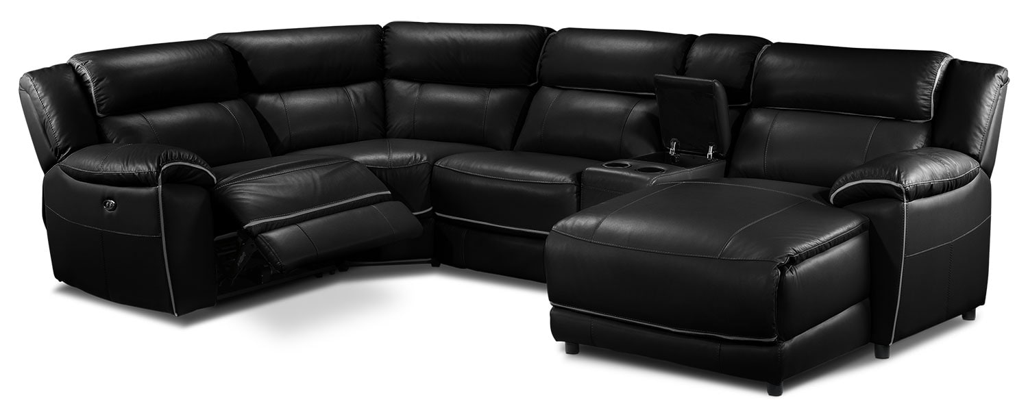 Living Room Furniture - Holton 5 Pc. Sectional - Black