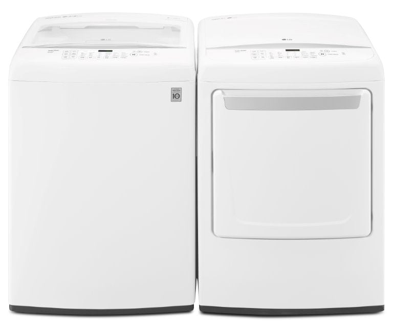 LG 5.2 Cu. Ft. Top-Load Washer and 7.3 Cu. Ft. Gas Dryer – White