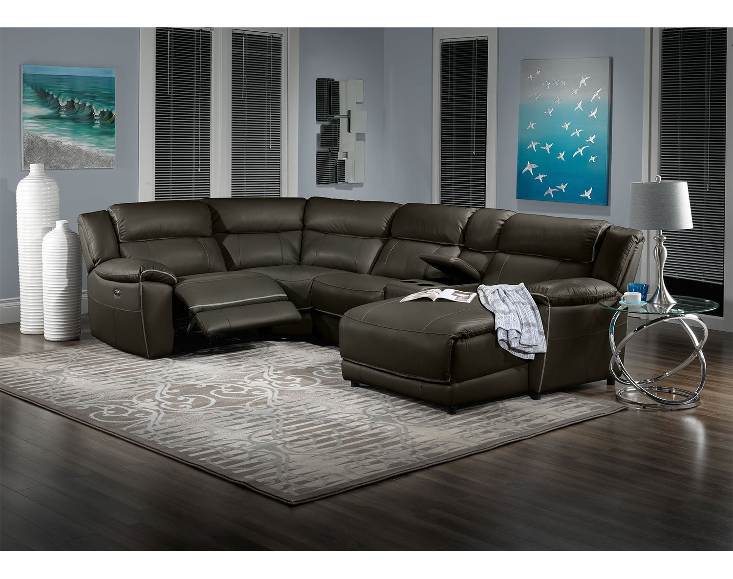 Holton 5 piece sectional charcoal grey leon 39 s for 5 piece living room packages