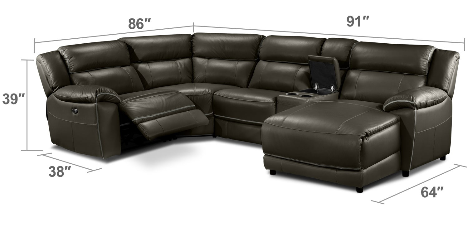 Living Room Furniture - Holton 5-Piece Sectional - Charcoal Grey