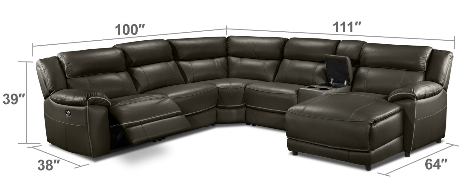 Living Room Furniture - Holton 6-Piece Sectional - Charcoal Grey