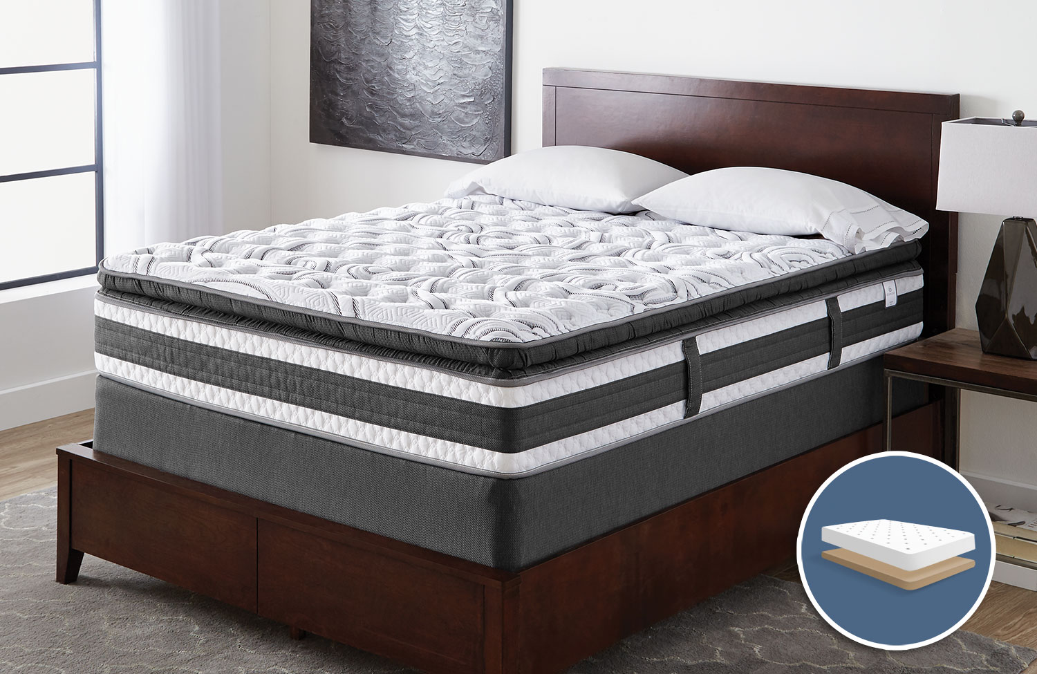 Mattresses and Bedding - Serta iCollection Lynncroft Pillow-Top Firm Low-Profile Queen Mattress Set