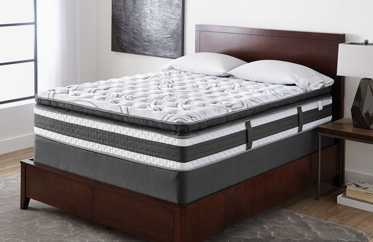 Mattresses and Bedding - Serta iCollection Lynncroft Pillow-Top Firm Low-Profile Split Queen Mattress Set
