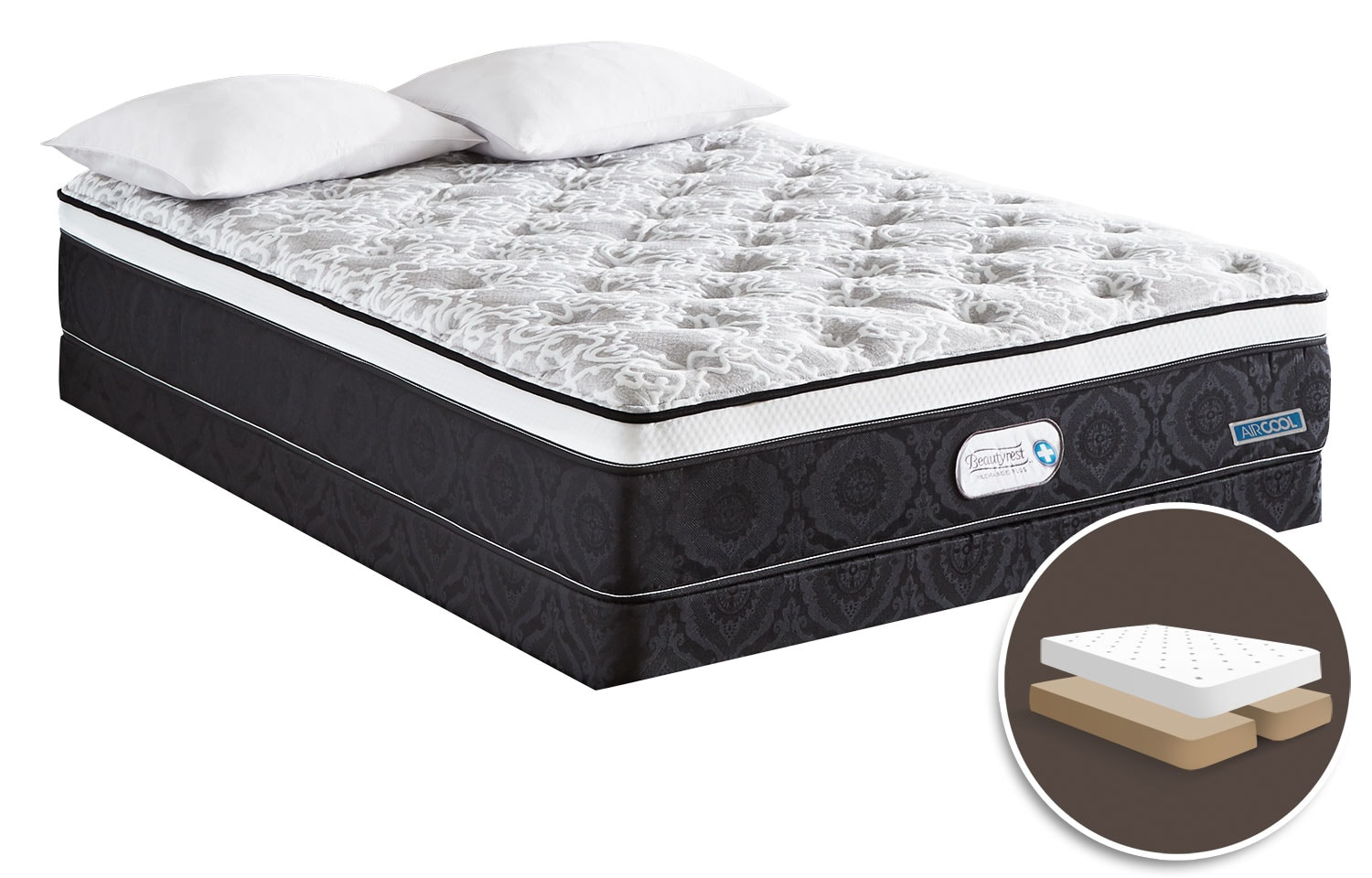 Mattresses and Bedding - Simmons Beautyrest® Recharge Anthem Comfort Top Firm Queen Set with Split Boxspring