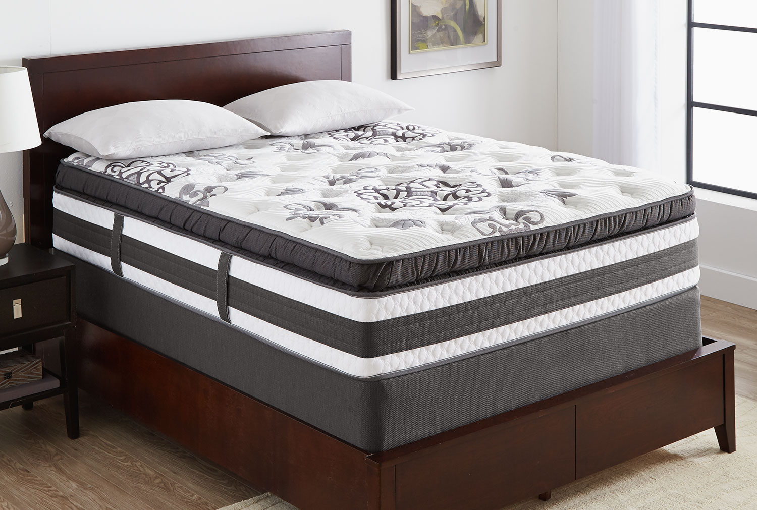 Mattresses and Bedding - Serta iCollection Hopedale Super Pillow-Top Plush Low-Profile Split Queen Mattress Set