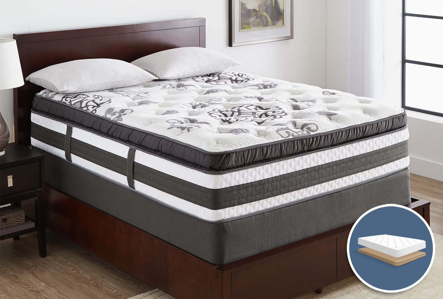 Serta iCollection Hopedale Super Pillow-Top Plush Low-Profile Queen Mattress Set