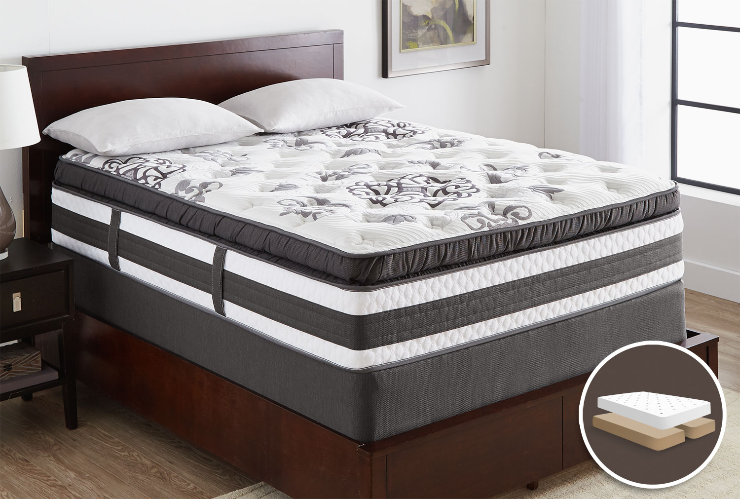 Mattresses and Bedding - Serta iCollection Hopedale Super Pillow-Top Plush Queen Set with Split Boxspring
