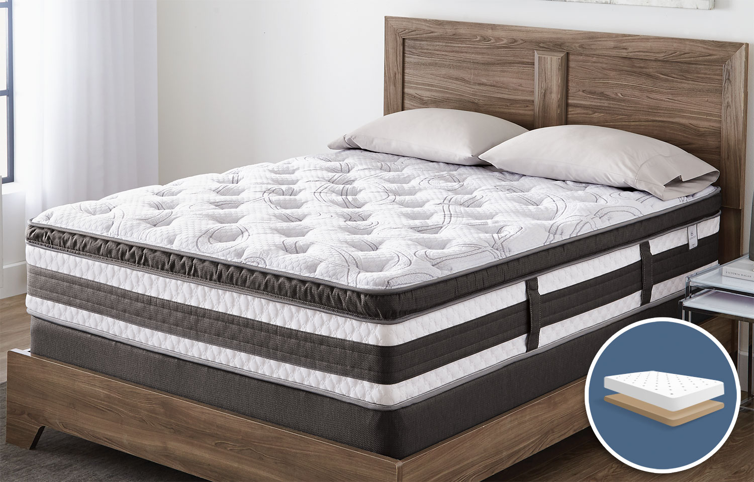 Mattresses and Bedding - Serta iCollection™ Kingsport Euro-Top Luxury Firm Low-Profile King Mattress Set