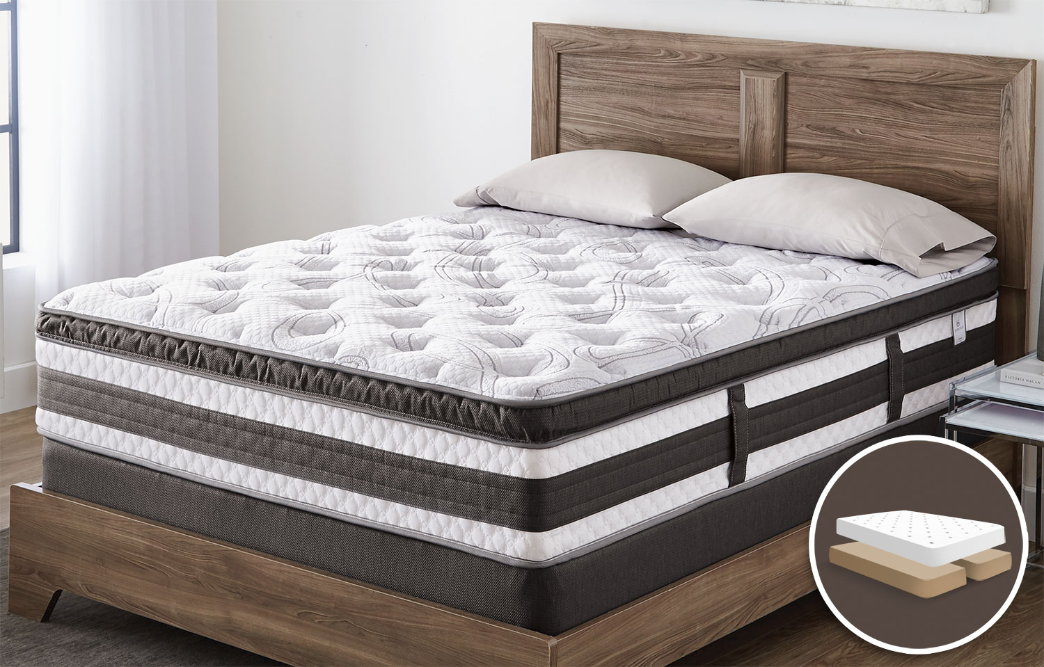 Mattresses and Bedding - Serta iCollection™ Kingsport Euro-Top Luxury Firm Queen Set with Split Boxspring