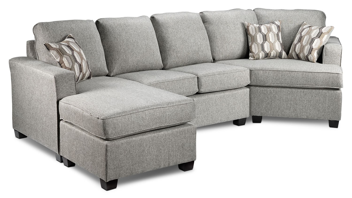 Downtown 2 piece left facing sectional grey leon39s for Sectional sofa or two sofas